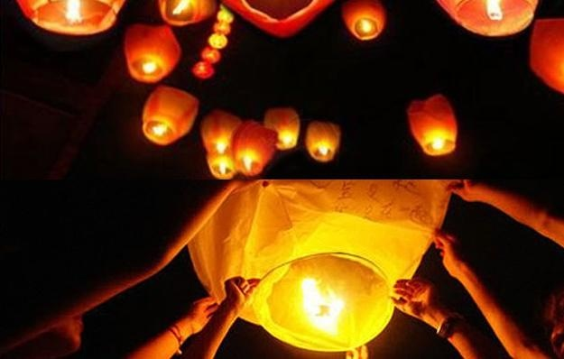 Would be a nice effect if the wedding party bridesmaids/groomsmen sent off the lanterns with special wishes!