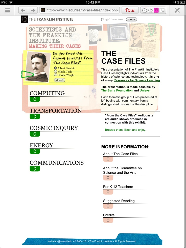 Classroom Research Ideas : Case files on famous scientists with lots of resources