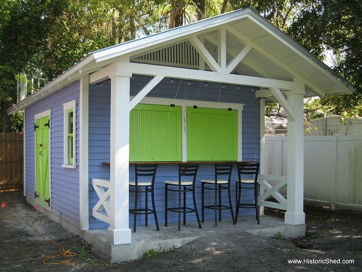 Custom Snack Shack Shed Green Shutters And Bright Green