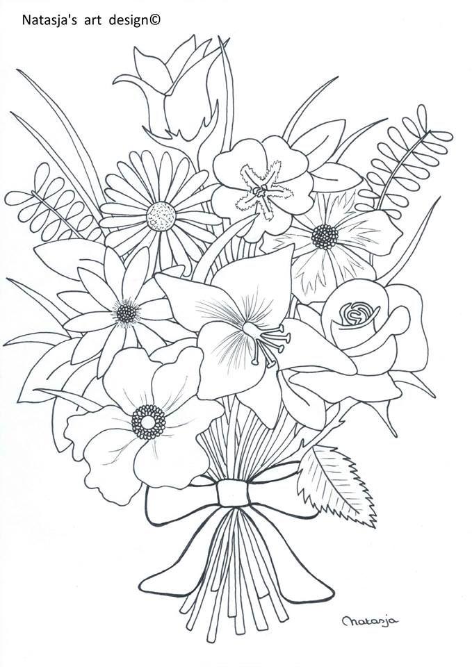 dibujos de jarrones de flores para colorear