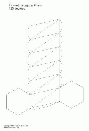 desarrollo plano de unprisma hexagonal torcido