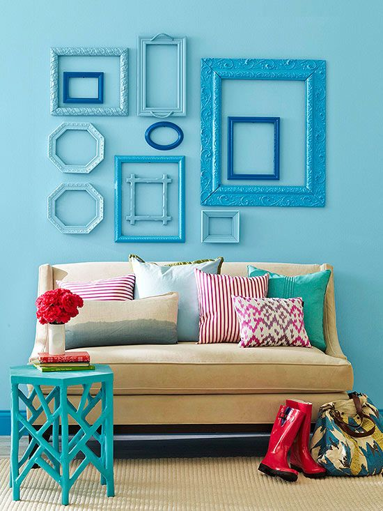 Framed Up Even if the art inside a frame isn't your style, a pretty frame is still a secondhand score. Round up a series of pretty frames, remove the art, spray paint them in a unifying color scheme, and arrange them on a wall.