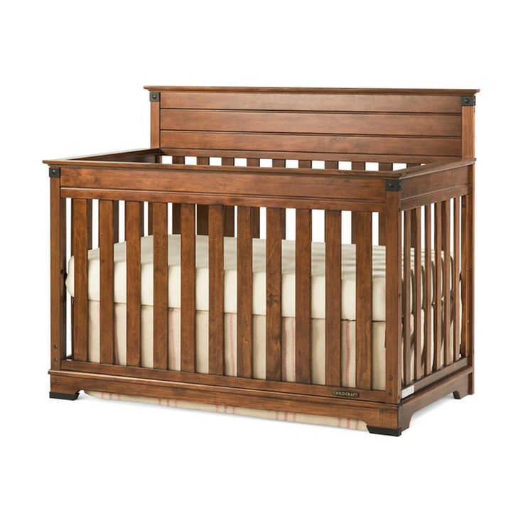 Child Craft Redmond 4-in-1 Convertible Crib in Coach Cherry has classic lines and modern materials that combine to inspire this Crib.  You will love the versatility and style of the rich cherry finish and sturdy, craftsman-era hardware, that create a unique, timeless crib that will impress for years to come.  The 4-in-1 Convertible Crib grows with your child by converting into a Crib, Toddler Bed, Day Bed and Full Bed.  Quality construction will last for years.  Strong metal mattress support…