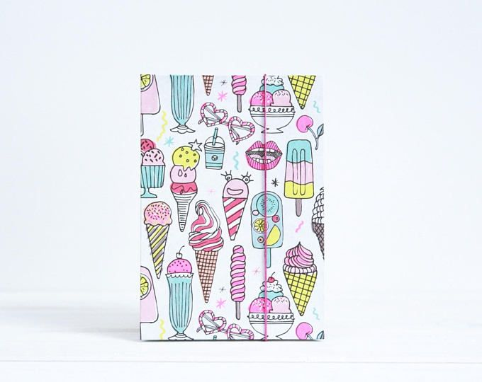 Ice creme photo album 4x6 photo album Gift for Ice creme Accordion guestbook Mini album with Ice creme pattern Party favors Gift for her