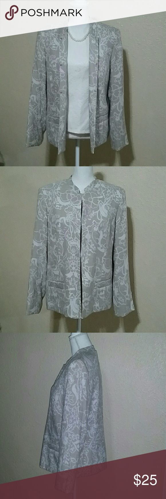 """Karen Scott Jacket Gorgeous floral jacket in white & tan color with hook closure. Outseam 24-7/8"""" sleeve approx  24-1/2""""      Pit-to-Pit approx 21"""". In great condition. Karen Scott Jackets & Coats"""