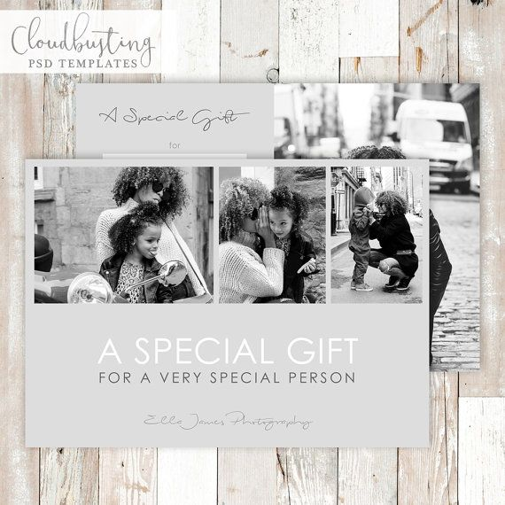 Photography Gift Certificate Card - Customizable PSD Template - https://www.etsy.com/listing/285370653