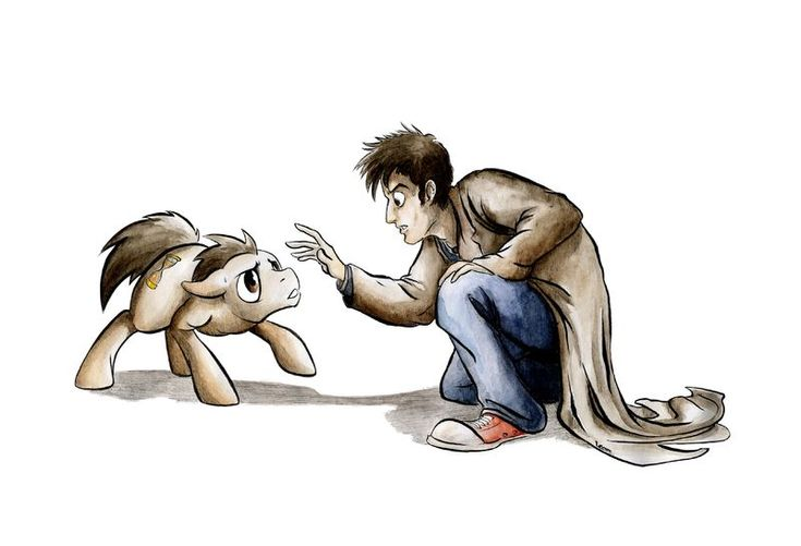 The Doctor meets Doctor whooves! This is too awesome! Except Doctor whooves eyes are supposed to be blue.....just saying.