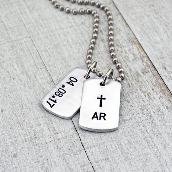 This boys cross necklace would make the perfect baptism gift or confirmation gift. The adorable mini dog tags will come hand stamped with his initials & cross and/or the date of the special event. You can choose just one dog tag or two. PLEASE NOTE: These are MINI dog tag charms.