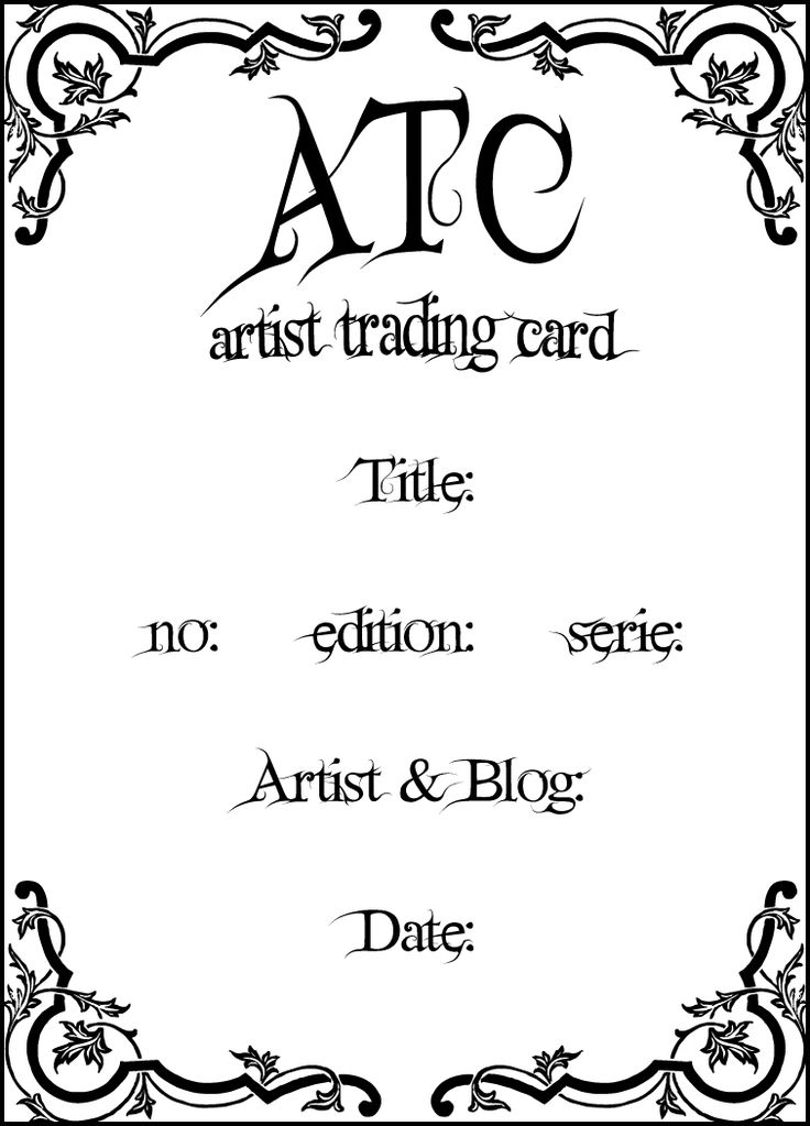 18 best ATCs images on Pinterest Artist trading cards, Atc and - trading card template
