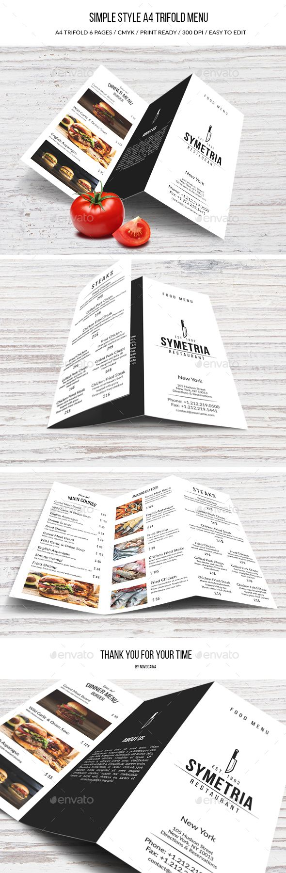 Simple Style A4 Trifold Menu — Photoshop PSD #menu design #classic • Available here → https://graphicriver.net/item/simple-style-a4-trifold-menu/16510179?ref=pxcr