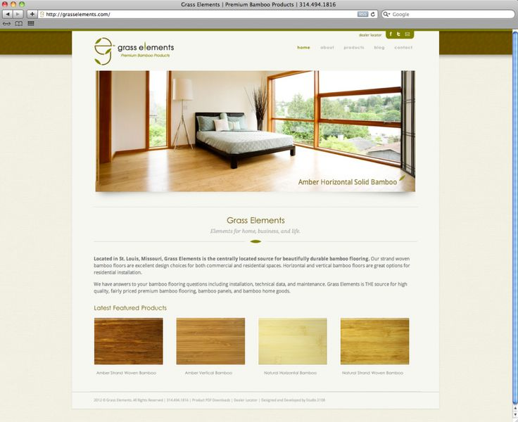 Web Design-Grass Elements, Premium Bamboo Products, just received a new website designed by Studio 2108