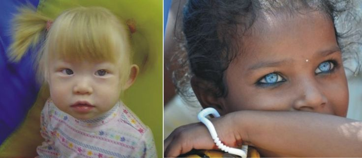 Blond, blue-eyed Chinese girl, left, and blue-eyed Indian girl, right. Yep, we're definitely ONE human race!