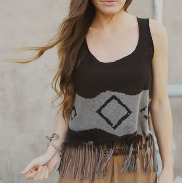DIY Tee Shirt to Bleached Geometric Fringed Crop Top