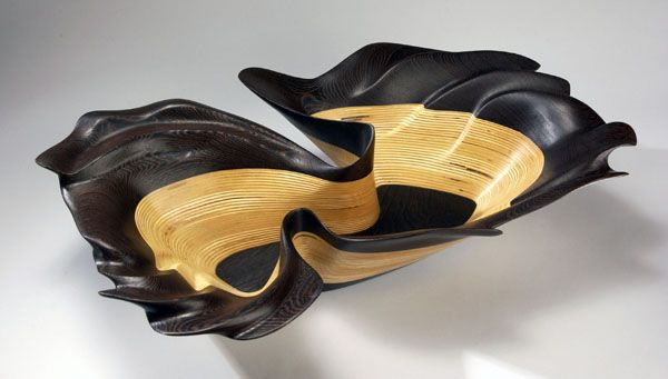 """Kerry Vesper, Wenge Essence, Wenge and Baltic Birch, 5.5""""(h) x 23"""" x 17""""    When asked if I have a favorite piece, I usually respond that is like asking a parent which is their favorite child. I have to admit, however, that this piece is one of the nicest sculptural bowls that I have made to date."""