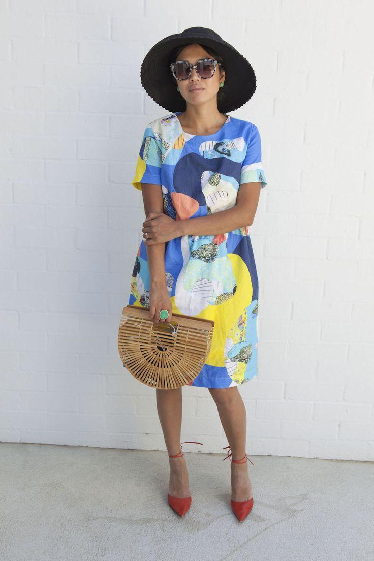 Jennifer Nini editor Eco Warrior Princess in Seagrass Design dress, ethically made in Australia