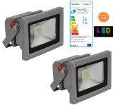 Trango 2er Pack 10Watt 3000K warm-weiß LED Wandstrahler Flutlicht Fluter Strahler Scheinwerfer Spot 230V TGIP65-103
