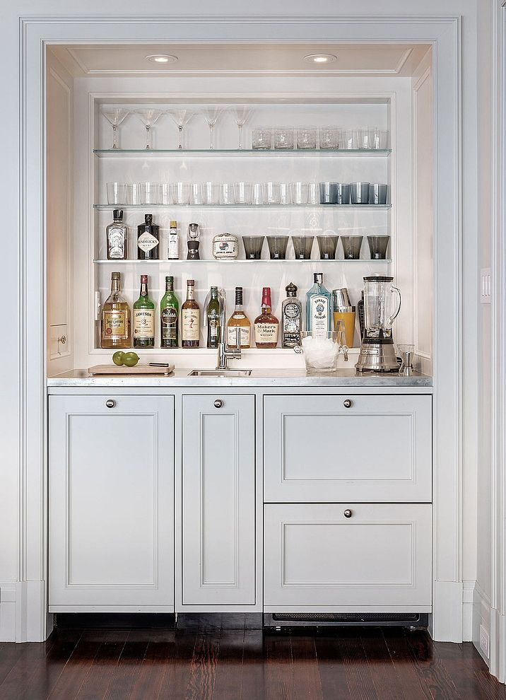 nice home bar in white tucked into it's own alcove | interior design + decorating ideas