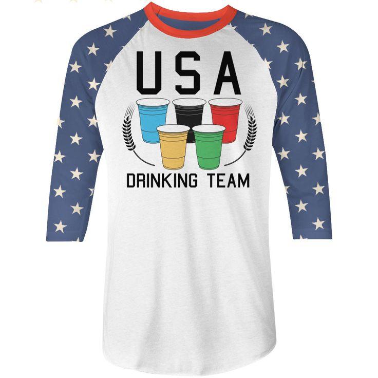 USA Drinking Team Tshirt Summer Games Baseball Tee by NSNP