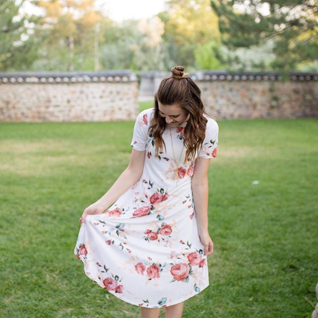 Floral Romantic T Shirt Dress, Cute modest white dress with floral pattern