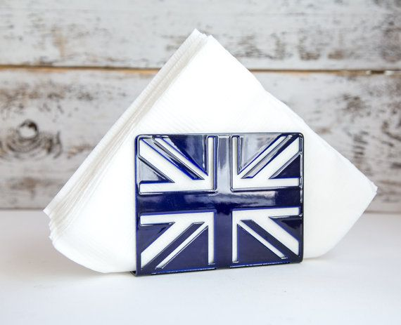 Napkin holder Deep blue glossy UK laser by DesignAtelierArticle, $19.00