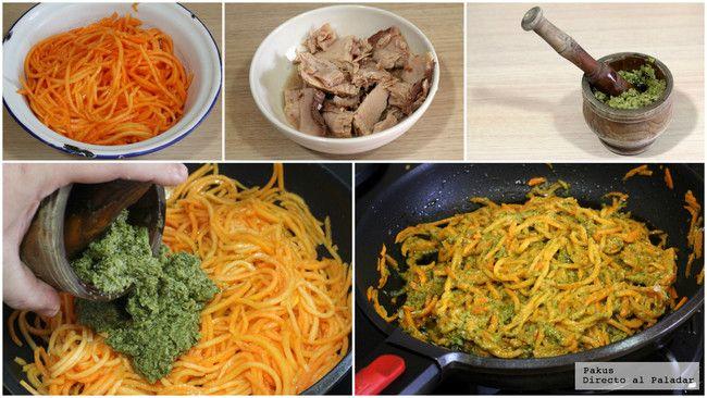 Espaguetis De Calabaza Al Pesto Con Atun