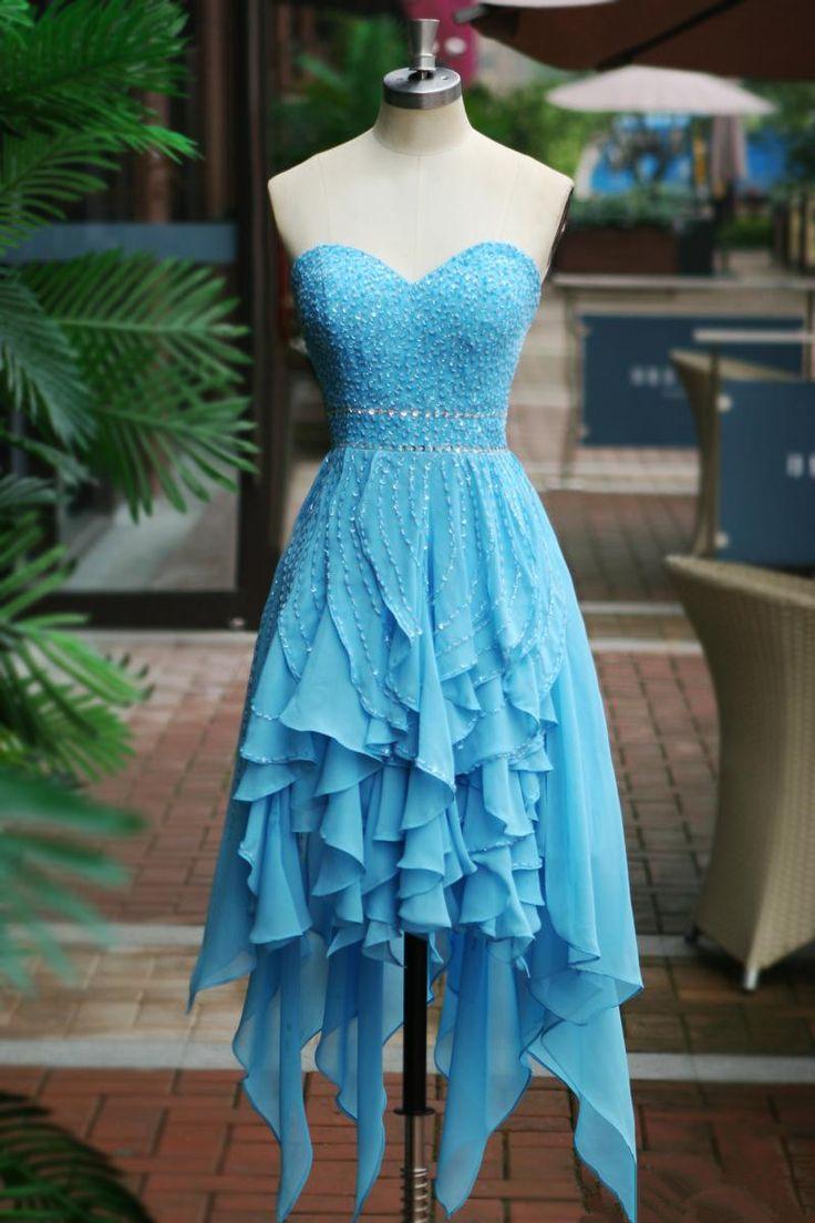Pretty Blue Handmade High Low Prom Dresses 2015, Homecoming Dresses