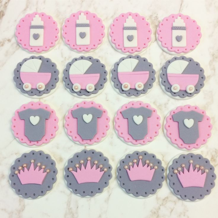 Baby Girl Fondant Cupcake Toppers