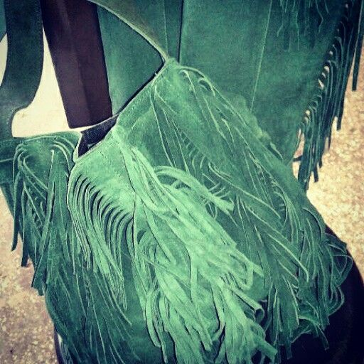 Bohemian style bag green fringe suede real