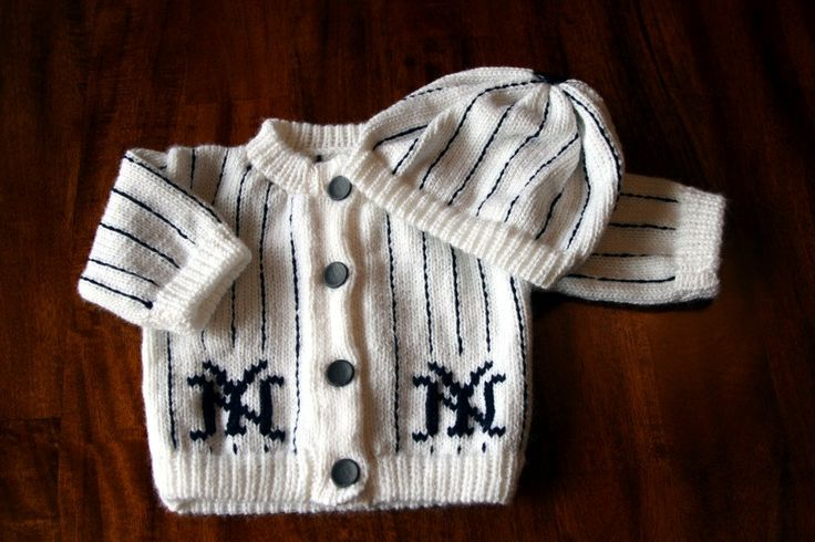 I'm a Phillies fan but this is adorable. New York Yankees Baby Sweater by theknithappensshop on Etsy, $29.95