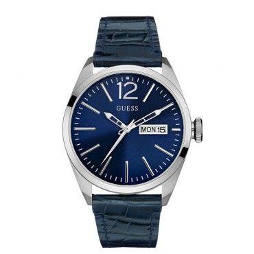 W0658G1 Ανδρικό μοντέρνο ρολόι GUESS ημέρας και ημερομηνίας με πρωτότυπο μπλε καντράν και δέρμα | Ανδρικά ρολόγια GUESS ΤΣΑΛΔΑΡΗΣ στο Χαλάνδρι #Guess #μπλε #δερμα #ανδρικο #ρολοι