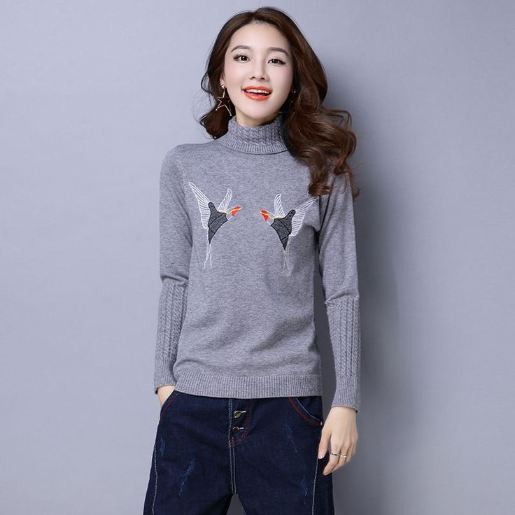 Embroidery Wool Blend Sweater
