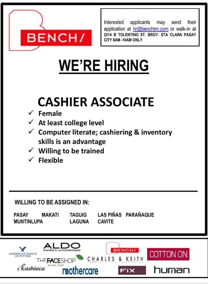 Bench Is In Need Of Cashier Associate Jobs Hiring Job Ads Hiring
