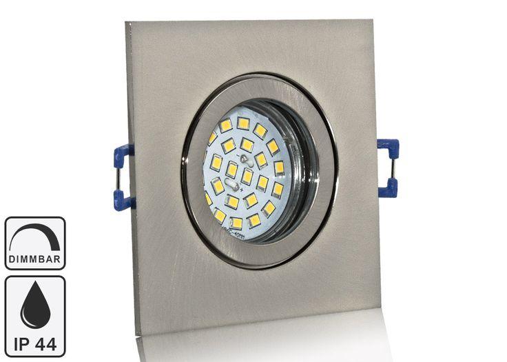 Feuchtraum LED Einbaustrahler Set IP44 Aluminium eisengebürstet eckig mit Marken GU10 LED Spot Nextec 5 Watt Klarglas dimmbar