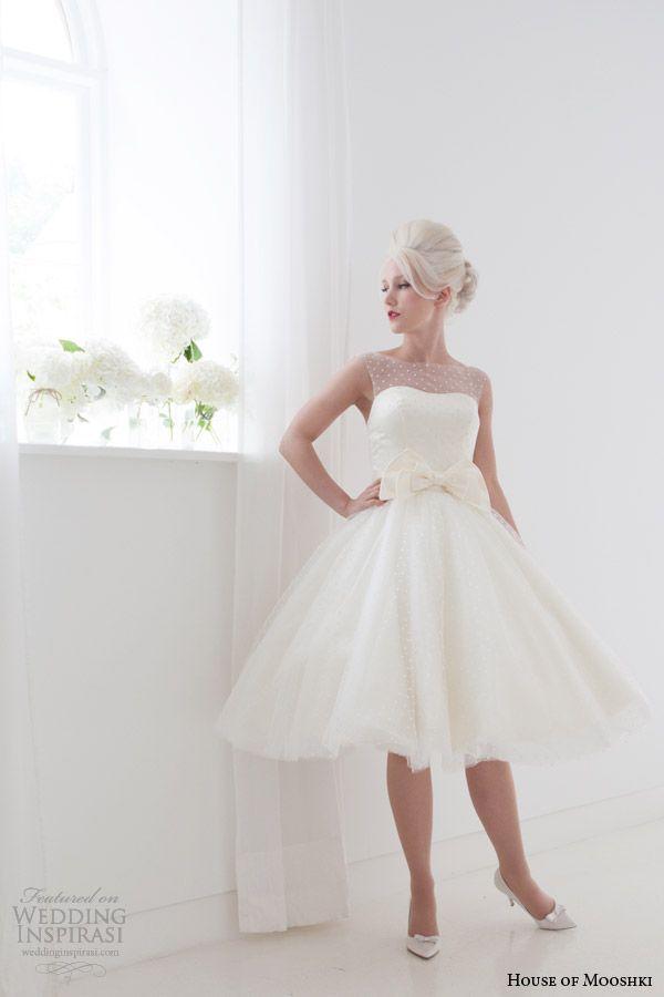 house of mooshki bridal spring 2015 daisy short wedding dress sleeveless illusion neckline