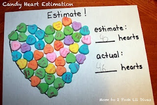 Candy Heart Estimation and other fun math with conversation hearts - great for valentine's Day centers