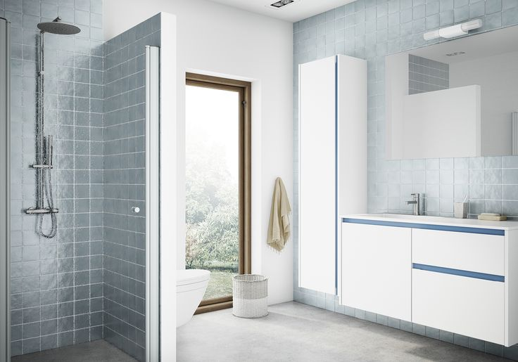 Add some zest to your bathroom with white Tinta doors and blue profiles. Tinta lets you make your own mark on your bathroom with a selection of ten different scratch-resistant foils for the aluminium profiles