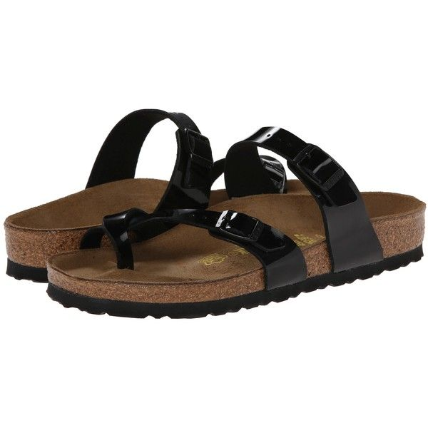 Birkenstock Mayari Women's Sandals, Black ($73) ❤ liked on Polyvore featuring shoes, sandals, black, evening sandals, cork footbed sandals, birkenstock shoes, evening shoes and special occasion shoes