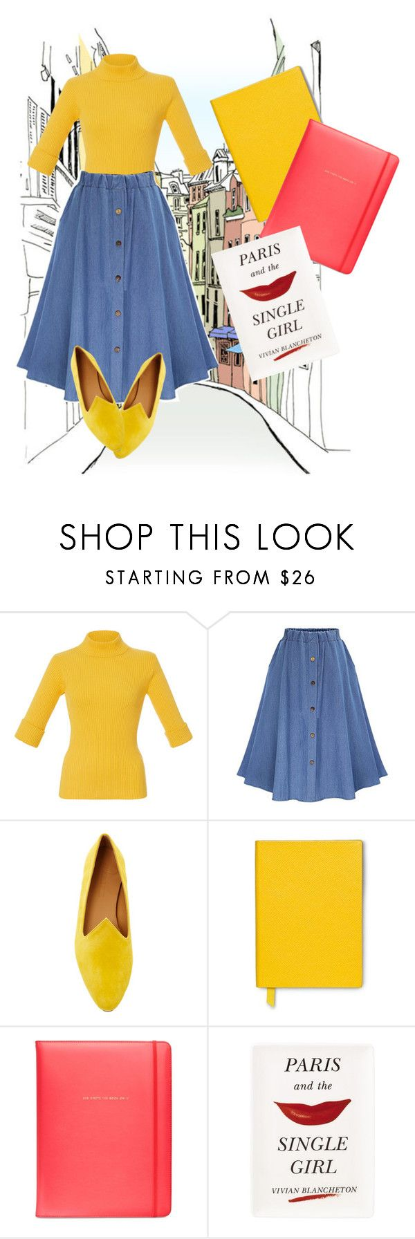"""""""Paris para um."""" by anybarb ❤ liked on Polyvore featuring Mara Hoffman, WithChic, Le Monde Beryl, Smythson and Kate Spade"""
