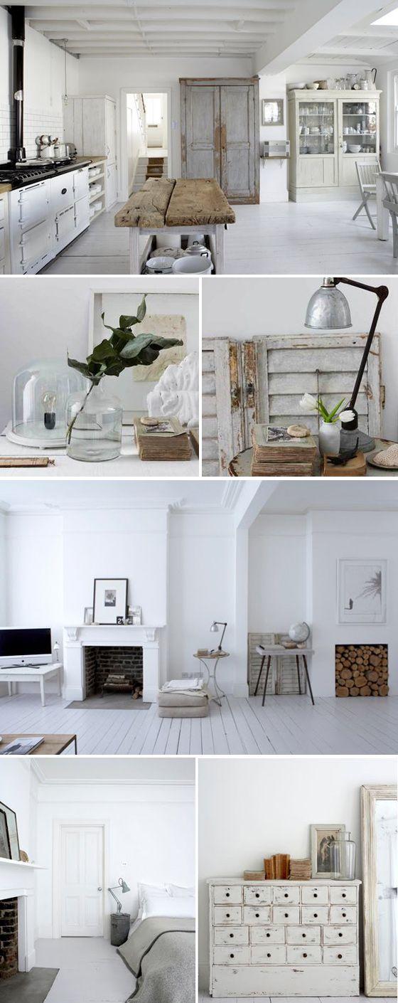 White and black fireplace - brick