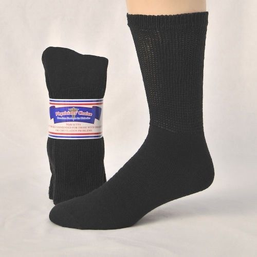 DIABETIC SOCKS~MENS BLACK 12 PRS ~NON BINDING~LOOSE TOP COMPHY~10-13 #choice #CasualCREW