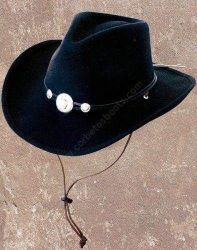 Corbeto's Boots | 50-IDAHO Black | Sombrero cowboy Stars & Stripes fieltro blando negro con ala moldeable | Stars & Stripes black crushable woolfelt cowboy hat with shapeable brim.