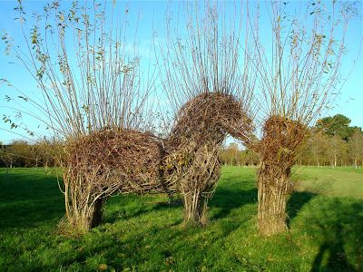 Living willow sculpture of man and horse.