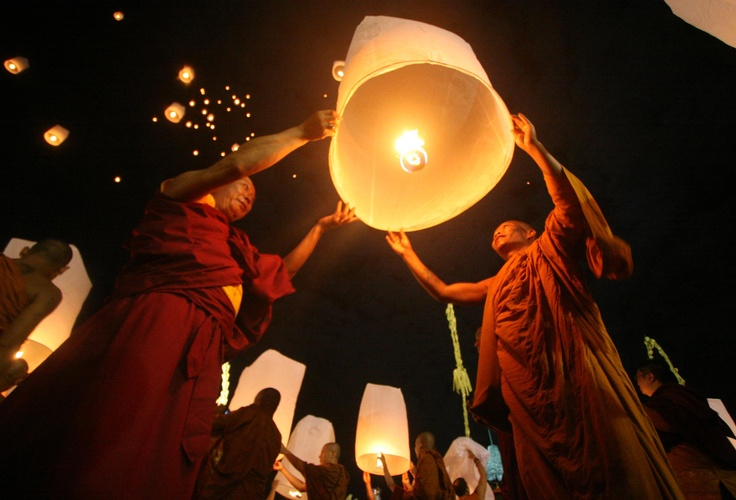 Buddhist monks release a floating lantern during the Waisak festival at Borobudur temple in Magelang, Central Java, Indonesia on May 6, 2012. The festival celebrates the birth, death and enlightenment of Buddha. (JG  Photo/Boy T Harjanto)