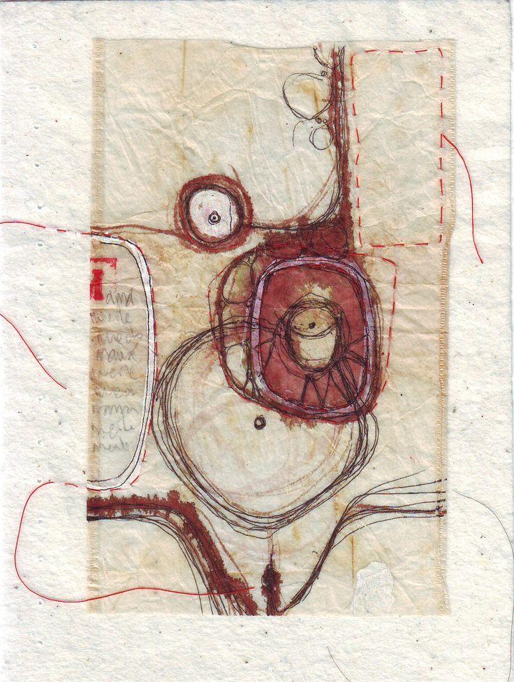 ¨un sueño¨,  detalle de libro de artista, bolsita de té pintada con acuarela y tinta, bordada a mano, sobre entretela.  Ana Milena Gómez, 2015