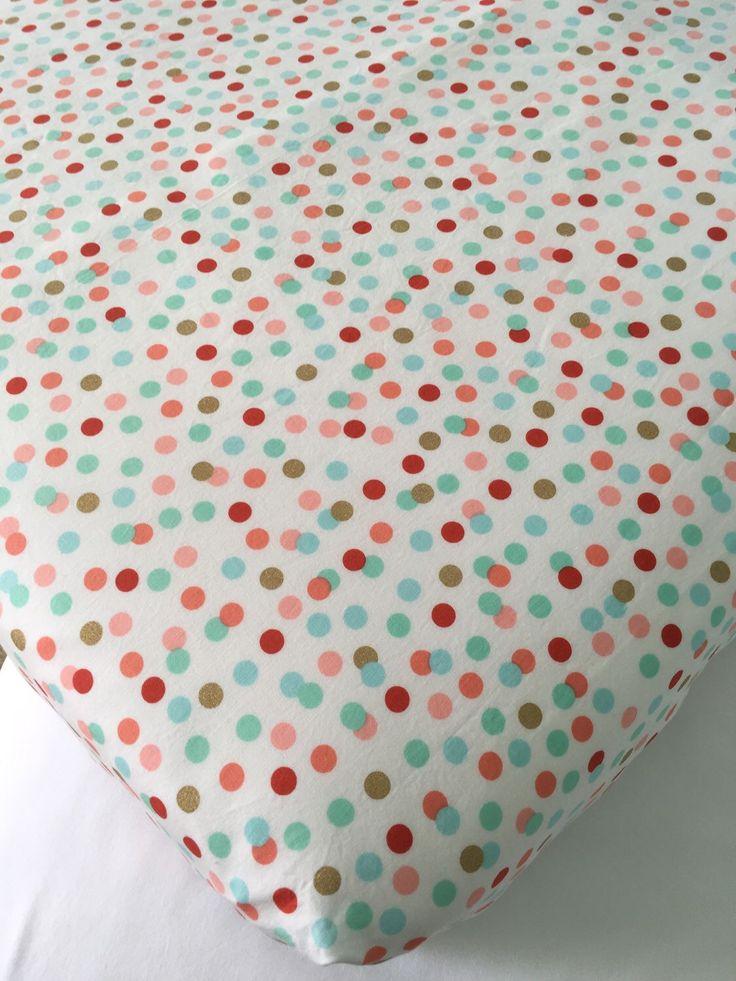 Crib Sheet ~ Toddler Bed Sheet ~ Nursery Bedding  ~ Metallic Glitz ~ Coral ~ Mint ~ Gold Shimmer ~ Polka Dots by SweetBabyBurpies on Etsy https://www.etsy.com/listing/262666298/crib-sheet-toddler-bed-sheet-nursery