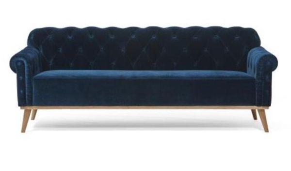 Chesterfield 3 Seat Velvet Sofa Blue