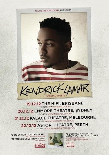 KENDRICK LAMAR - AUSTRALIAN TOUR For ticket info visit: www.nicheproductions.com.au