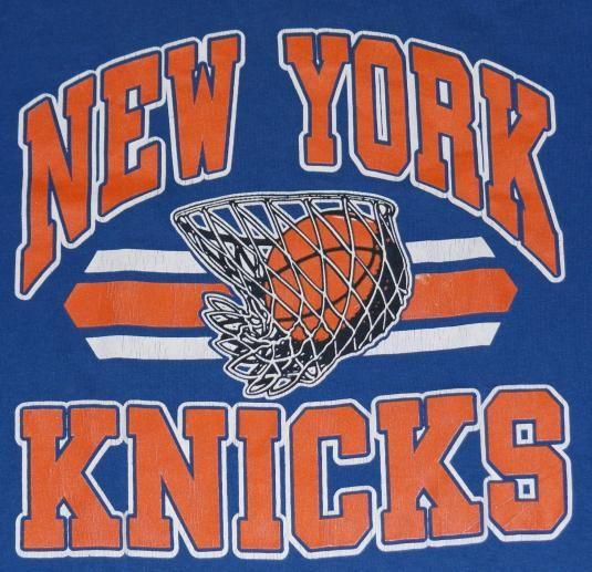 Vintage 1980s New York Knicks NBA Basketball Blue T-Shirt