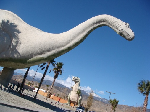 """Cabazon Dinosaurs in Cabazon, California: """"World's biggest dinosaur"""" featured in Pee Wee's Big Adventure, now houses a creationist museum in its abdomen."""