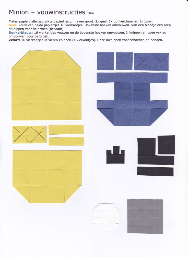 Minion - vouwinstructies www.vouwjuf.nl Ontwerp Janet de Vink